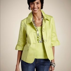 🆕CHICO'S Power Princeton Soft Lime Button Jacket